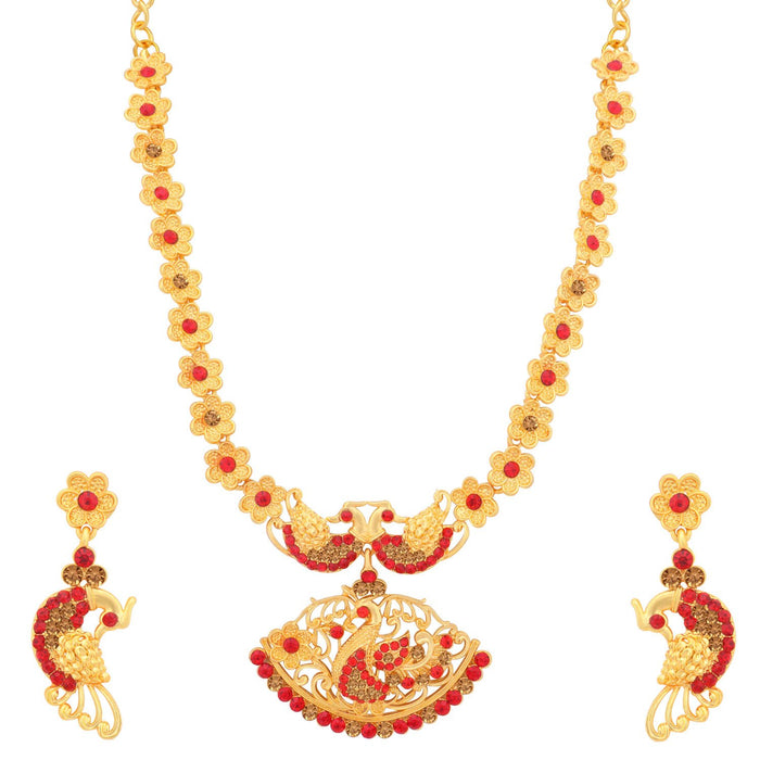 Sukkhi Lavish LCT and Red Stone Gold Plated Peacock Necklace Set for Women