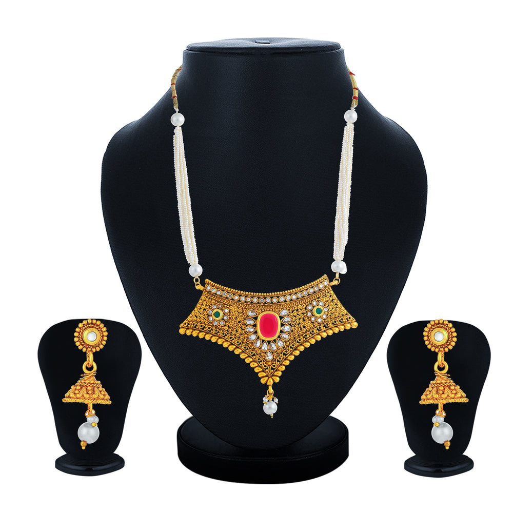 Sukkhi Artistically Gold Plated Kundan and Pearl Collar Necklace Set for Women