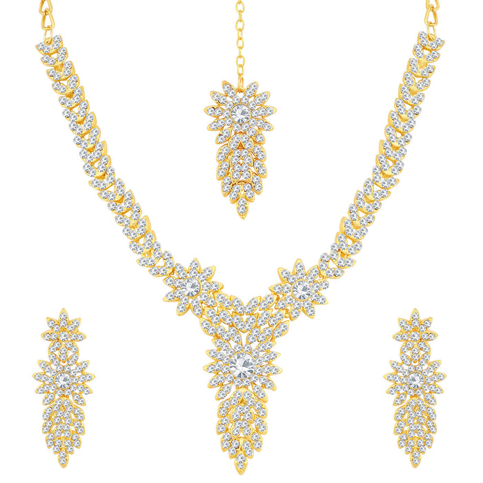 Sukkhi Stunning Gold Plated Floral Necklace Set For Women