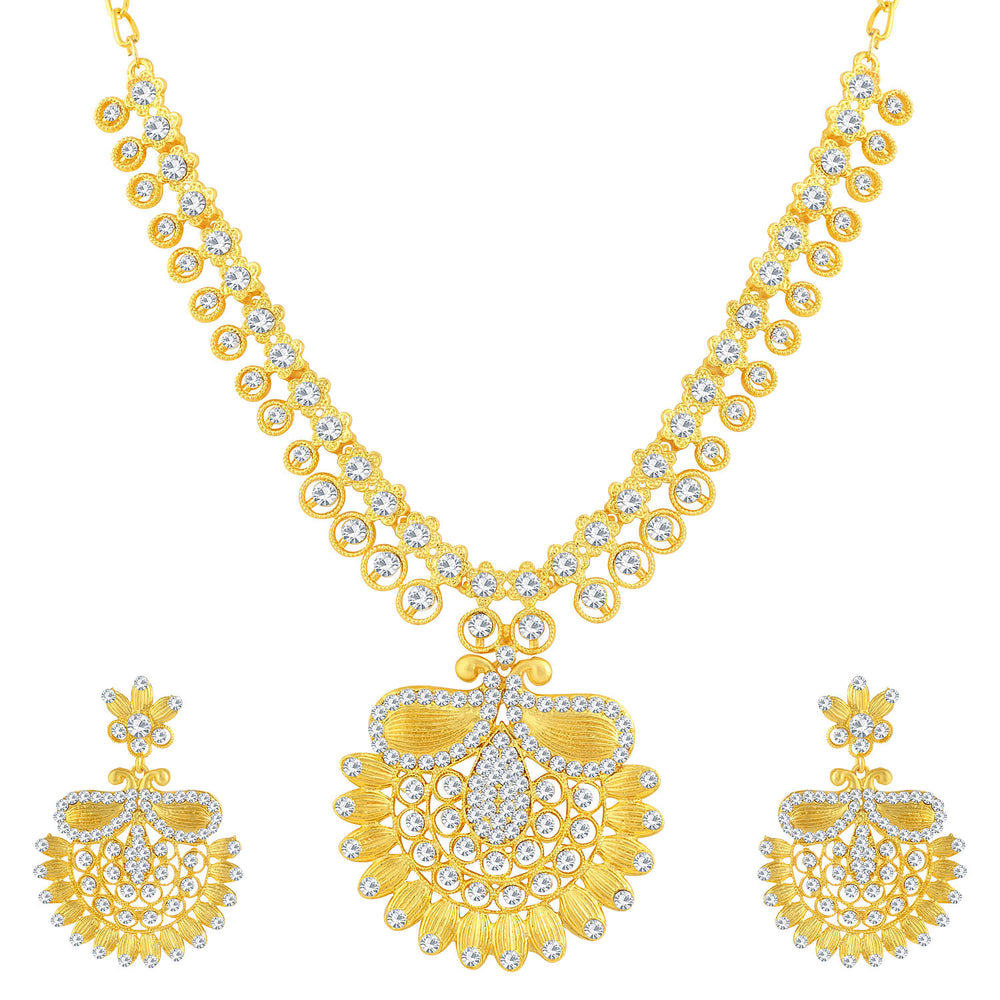 Sukkhi Amazing Gold Plated Floral Necklace Set For Women