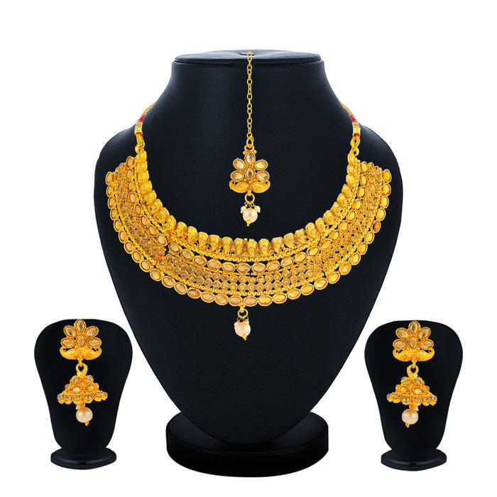 Sukkhi Tibale Gold Plated LCT Stone Choker Necklace Set for Women