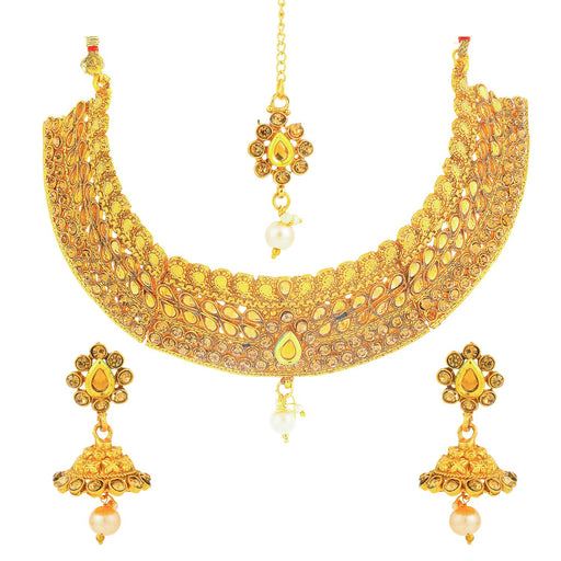 Sukkhi Resplendent Gold Plated LCT Stone Choker Necklace Set for Women