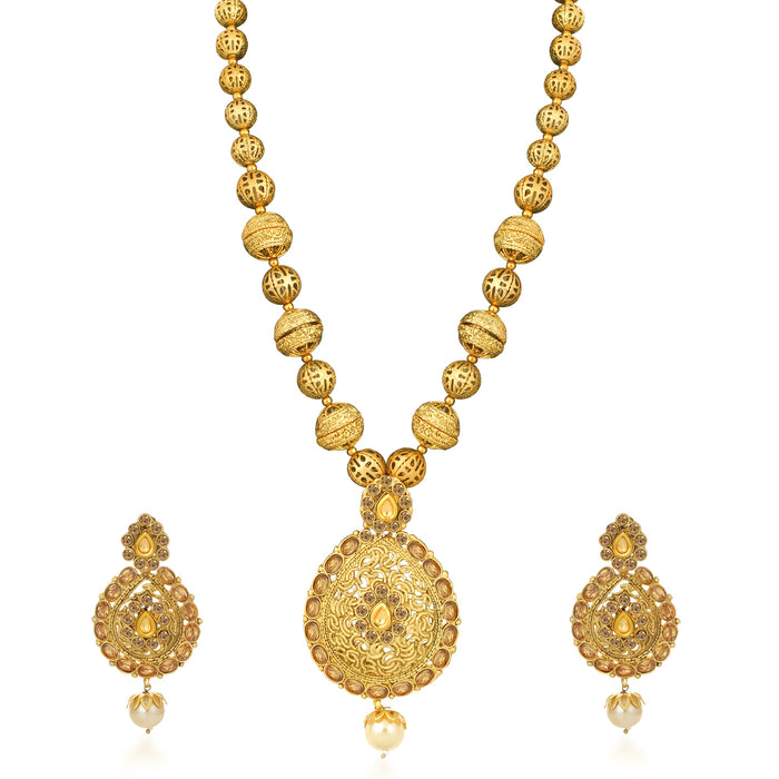 Sukkhi Pretty Gold Plated LCT Stone Collar Necklace Set for Women