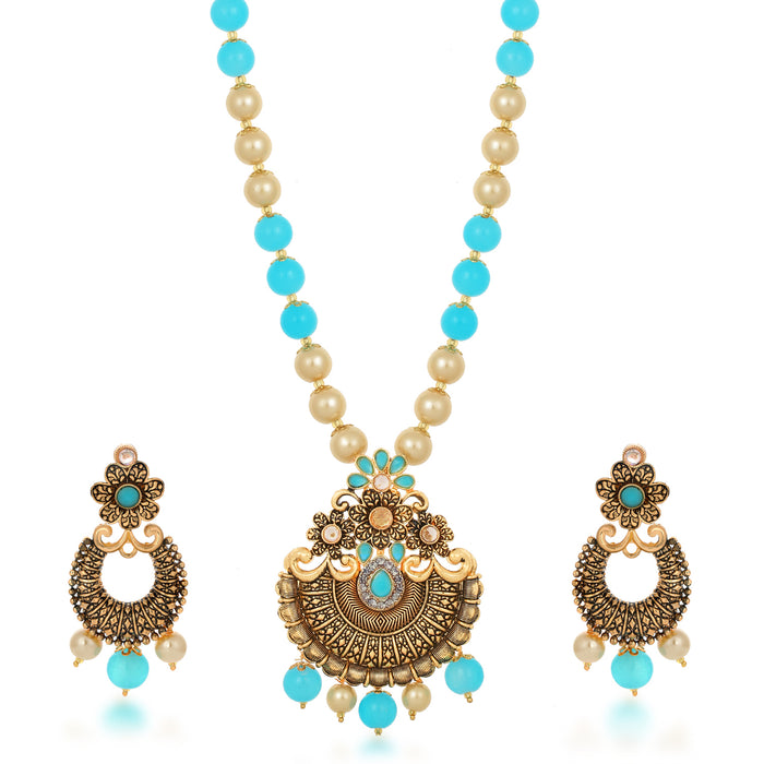 Sukkhi Resplendent Collar Gold Plated Necklace Set Set for Women