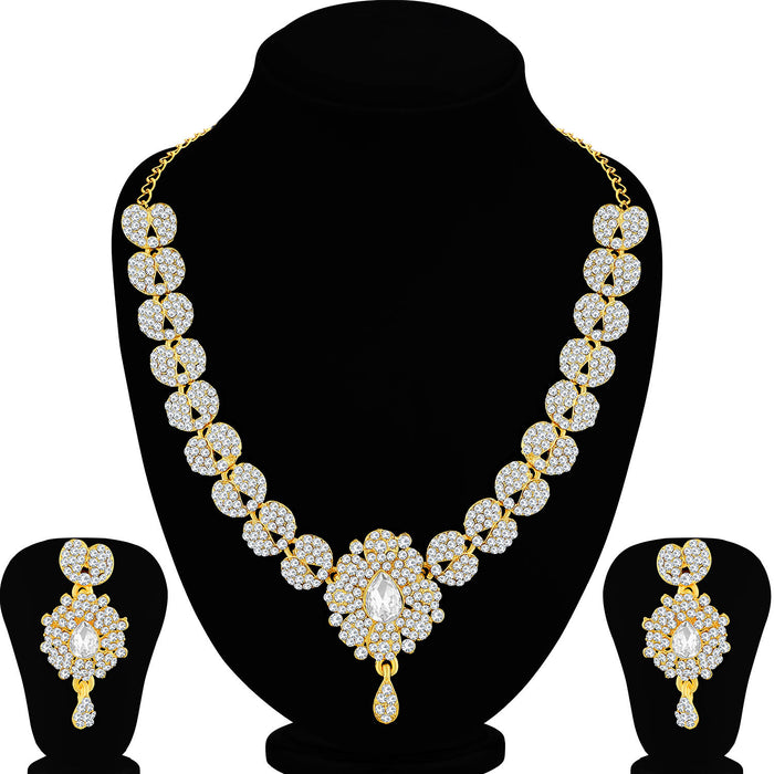 Sukkhi Sparkly Gold Plated Paisley Necklace Set For Women