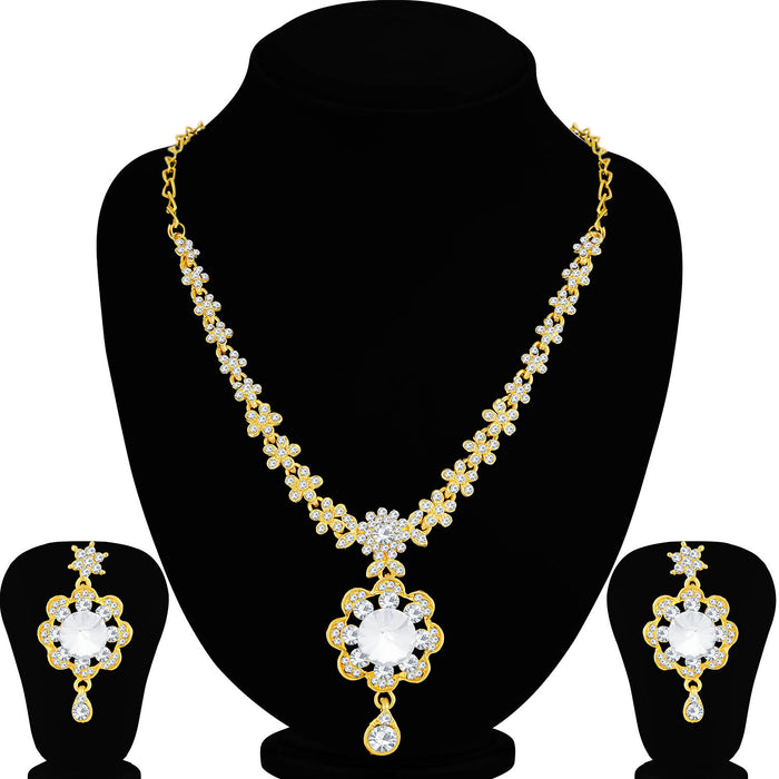 Sukkhi Pleasing Gold Plated Floral Necklace Set For Women