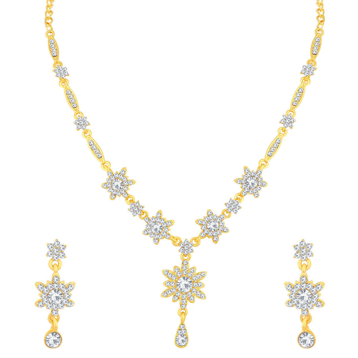 Sukkhi Flawless Gold Plated Floral Necklace Set For Women