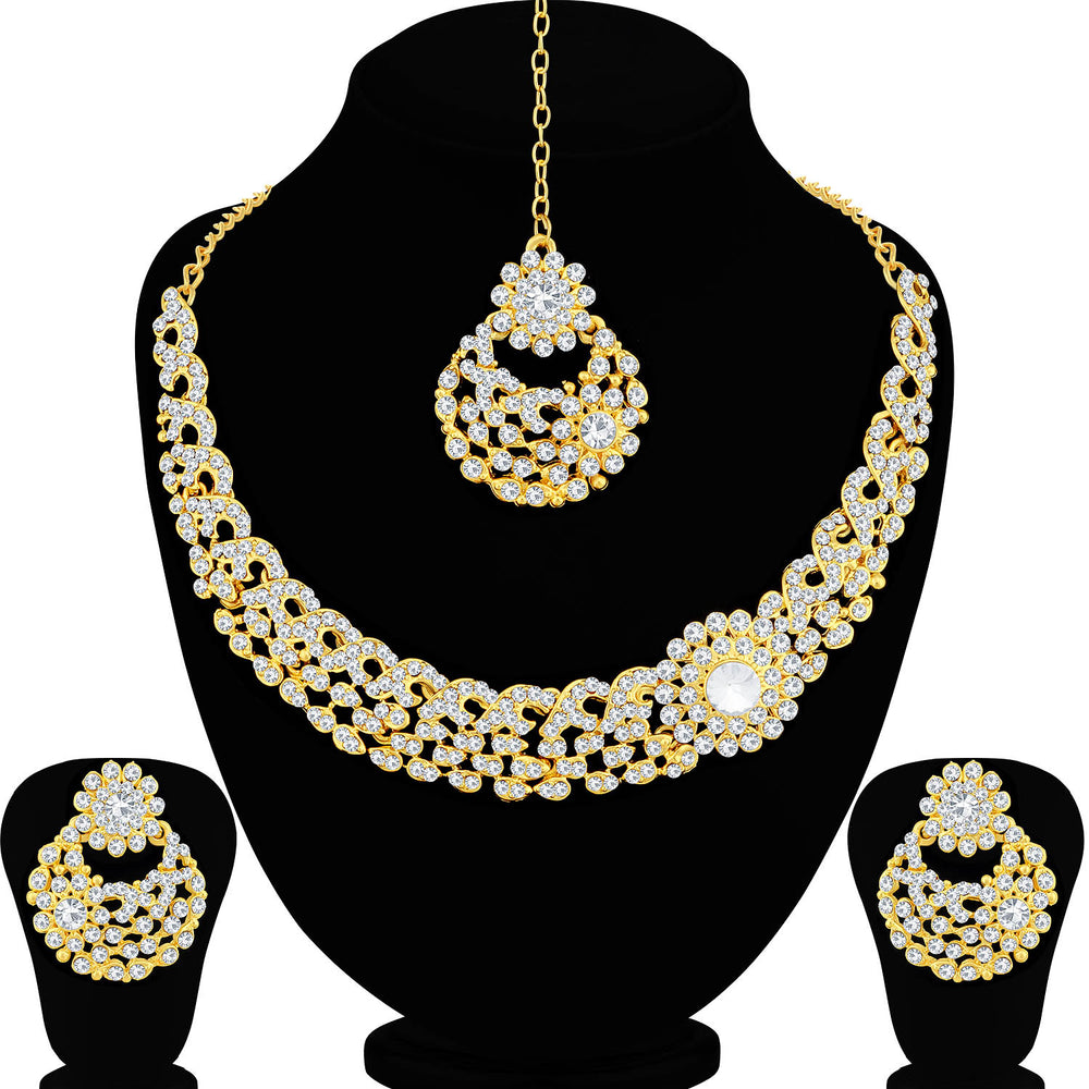 Sukkhi Floral Gold Plated Necklace Set For Women