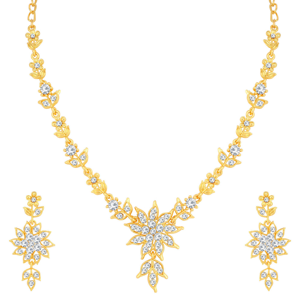 Sukkhi Prismatic Gold Plated Floral Necklace Set For Women