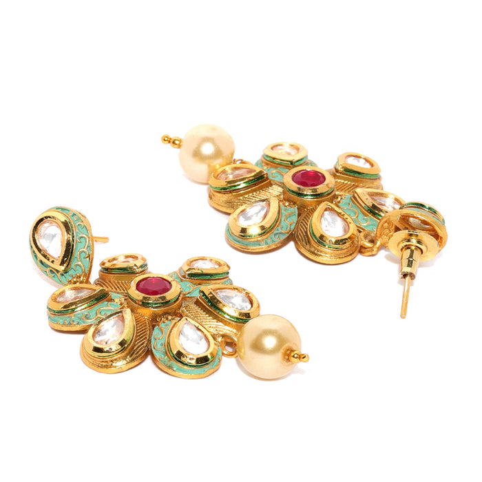 Sukkhi Exclusive Mint Collection Kundan Gold Plated Neckalce Set for Women