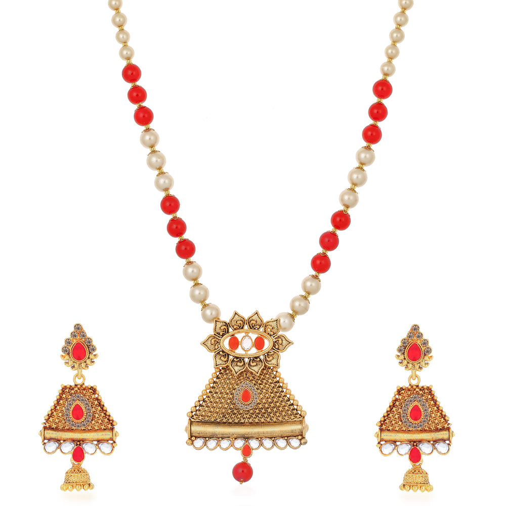 Sukkhi Marquise Triangle Gold Plated Necklace Set Set for Women