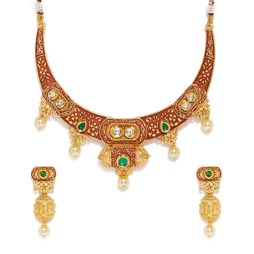 Sukkhi Kundan Gold Plated Neckalce Set