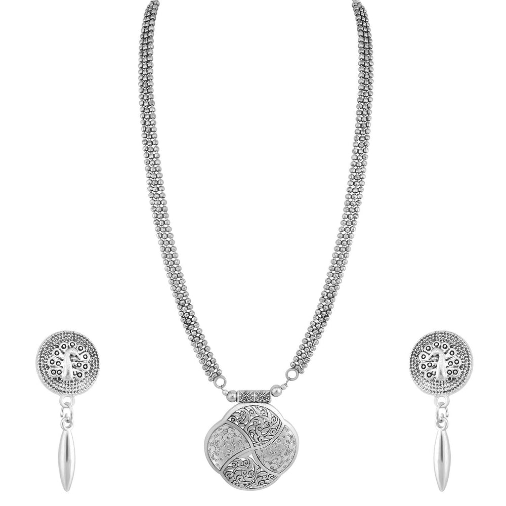 Sukkhi Fascinating Oxidised Peacock Long Haram Necklace Set For Women