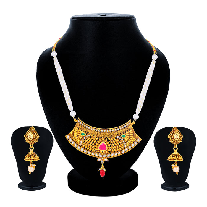 Sukkhi Ritzy Collar Gold Plated Necklace Set Set for Women