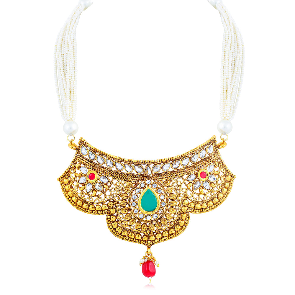 Sukkhi Sparkling Collar Gold Plated Necklace Set Set for Women