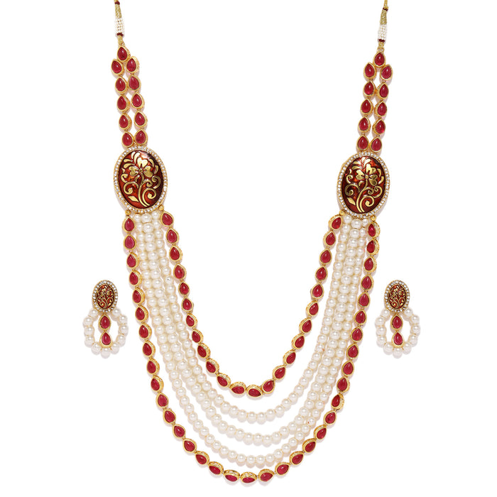 Sukkhi Resplendent Gold Plated White Pearl Necklace Set for Women