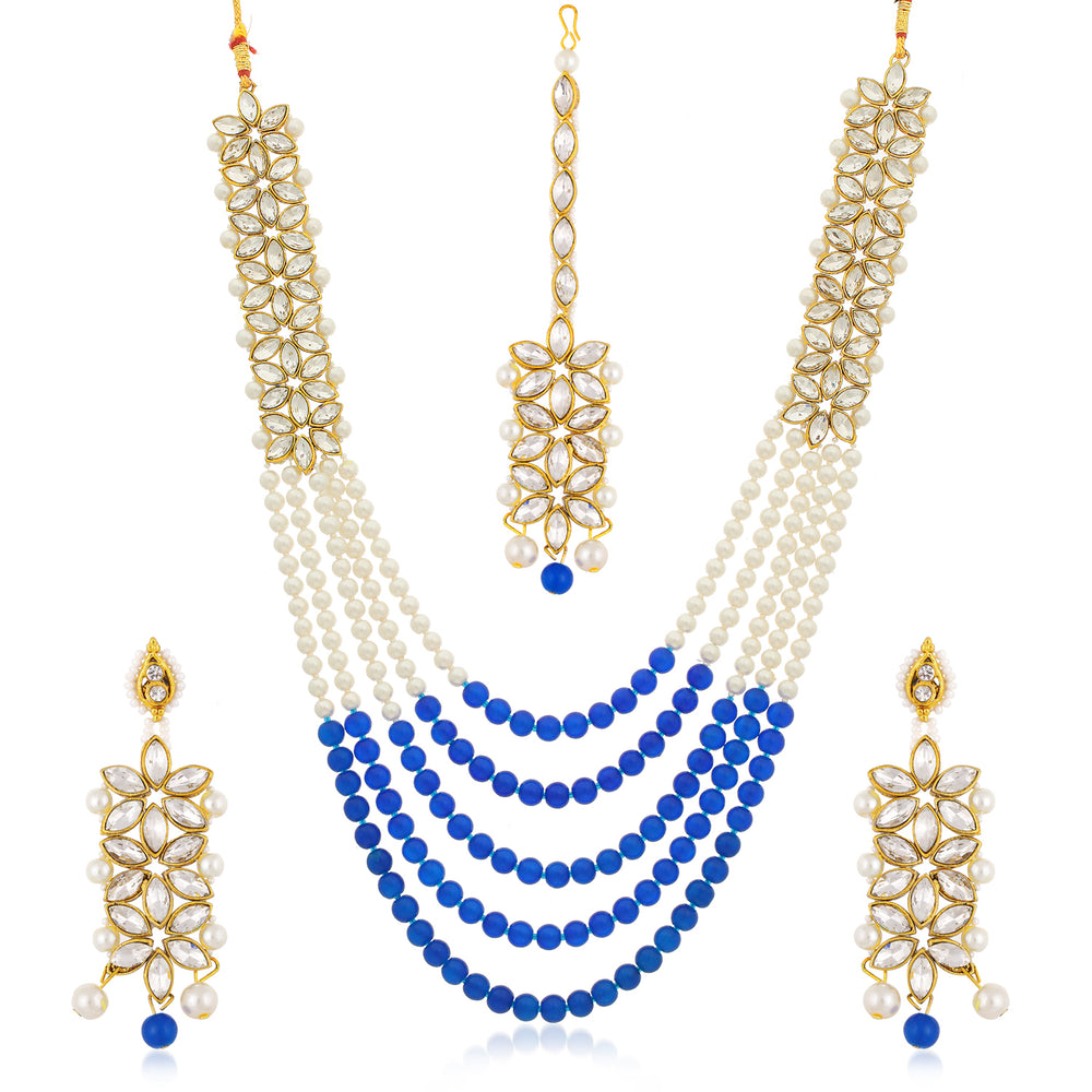 Sukkhi Trendy Long Haram Gold Plated Necklace Set Set for Women