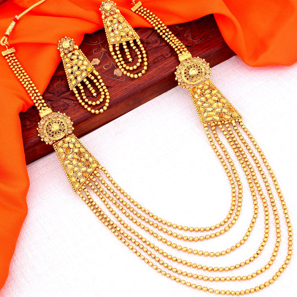Sukkhi Attractive Gold Plated Chain Necklace Set For Women