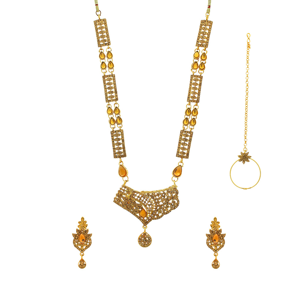 Sukkhi Marvellous Gold Plated LCT Stone Choker Dulhan Set for Women