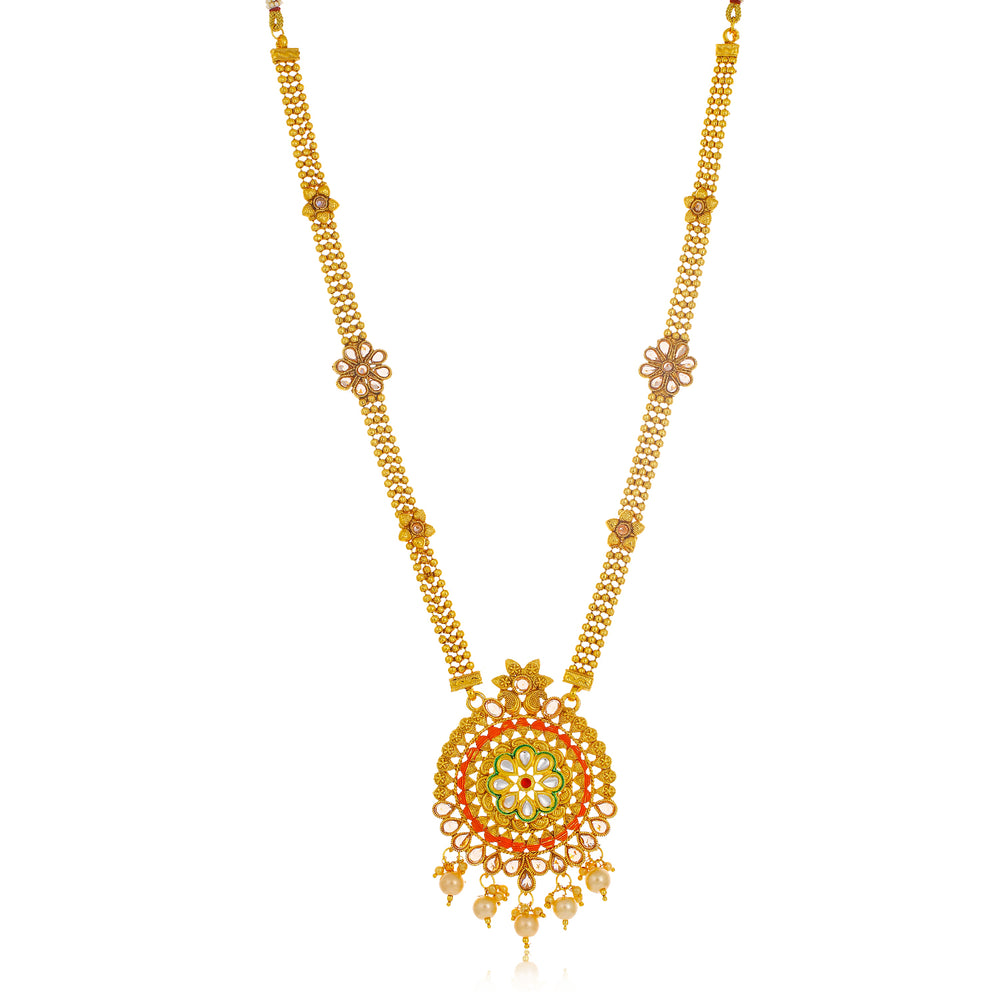 Sukkhi Gorgeous Long Haram Gold Plated Necklace Set for Women