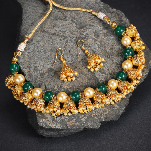 Sukkhi Brilliant Gold Plated Jhumki Necklace Set for Women