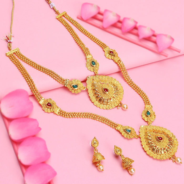 Sukkhi Attractive Gold Plated Pearl Long Haram Necklace Set For Women