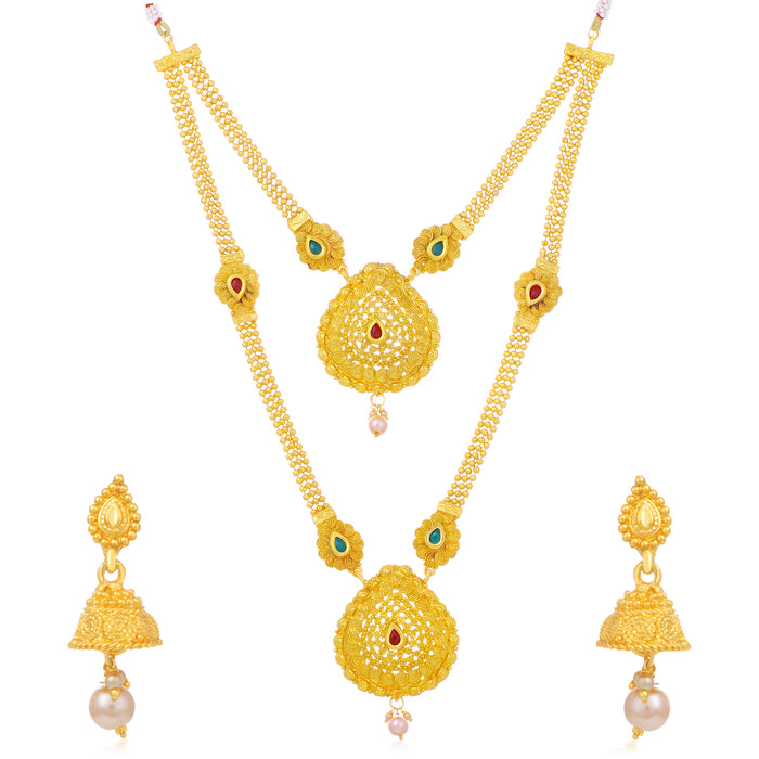 Sukkhi Classic Gold Plated Pearl Long Haram Necklace Set For Women