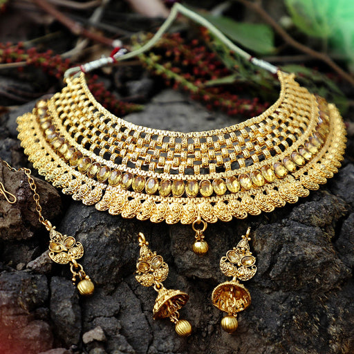 Sukkhi Classic Gold Plated LCT Stone Choker Necklace Set For Women