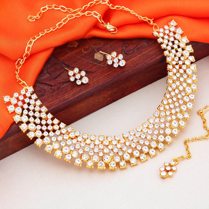 Sukkhi Equisite Gold Plated Choker Necklace Set For Women