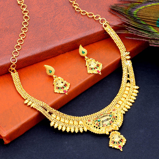 Sukkhi Pretty Gold Plated Meenakari Choker Necklace Set For Women