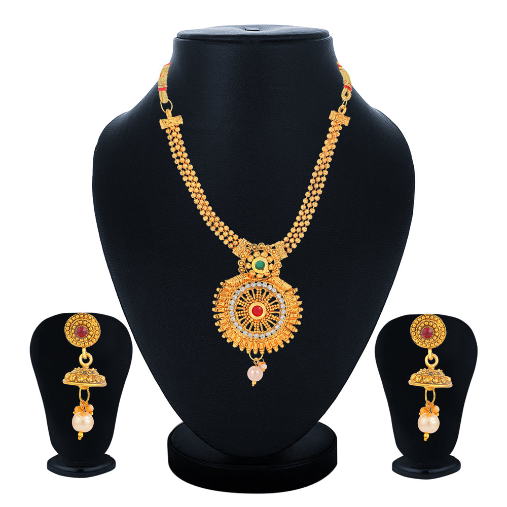 Sukkhi Artistically Collar Gold Plated Necklace Set Set for Women