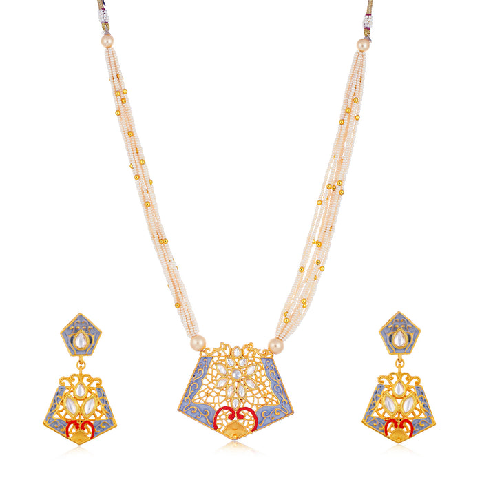 Sukkhi Marquise Collar Gold Plated Necklace Set Set for Women