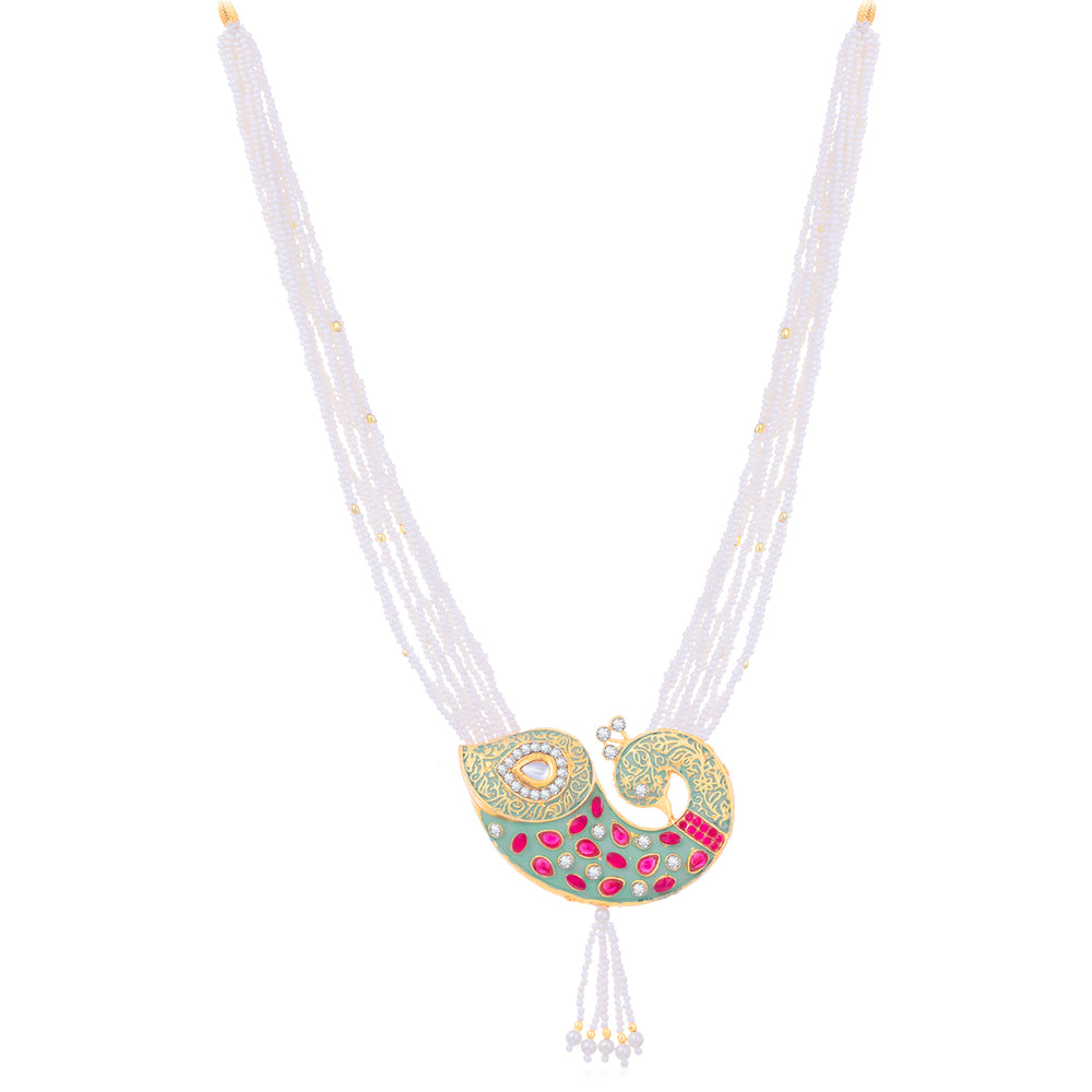 Sukkhi Incredible Kundan Gold Plated Peacock Mint Collection Pearl Necklace Set For Women