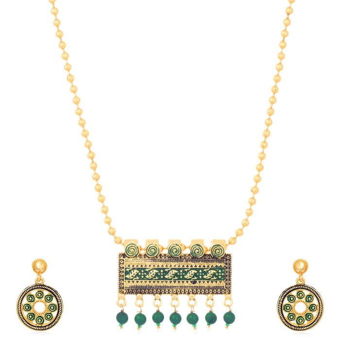 Sukkhi Trendy Gold Plated Mint Collection Necklace Set For Women