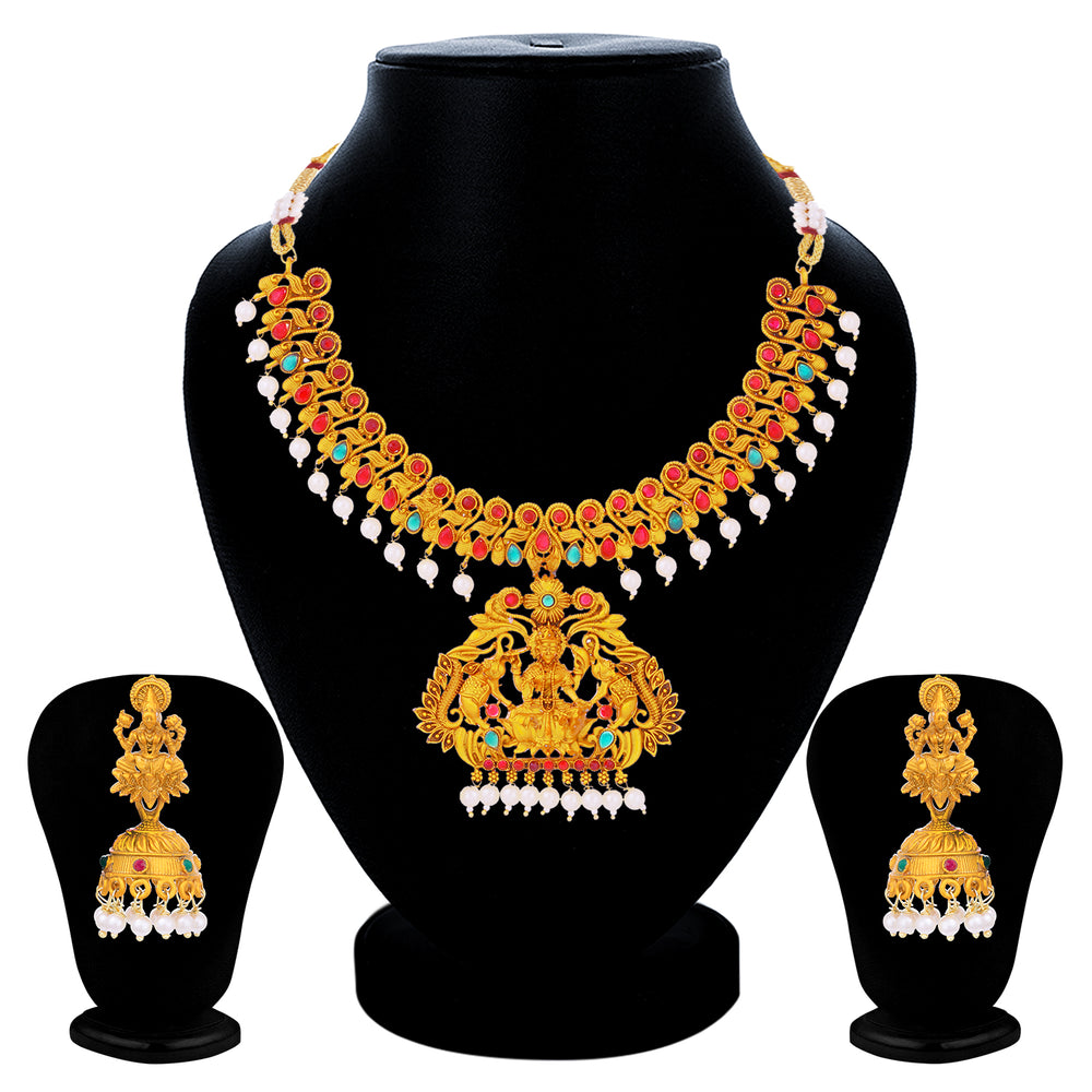 Sukkhi Elegant Pearl Gold Plated Goddess Choker Necklace Set For Women