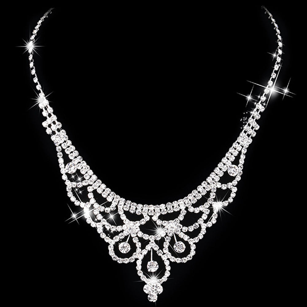 Sukkhi Cluster Crystal Stone Rhodium Plated Necklace Set for Women