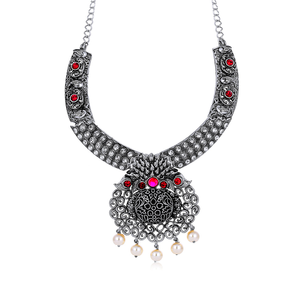 Sukkhi Shimmering Oxidised Necklace Set for Women