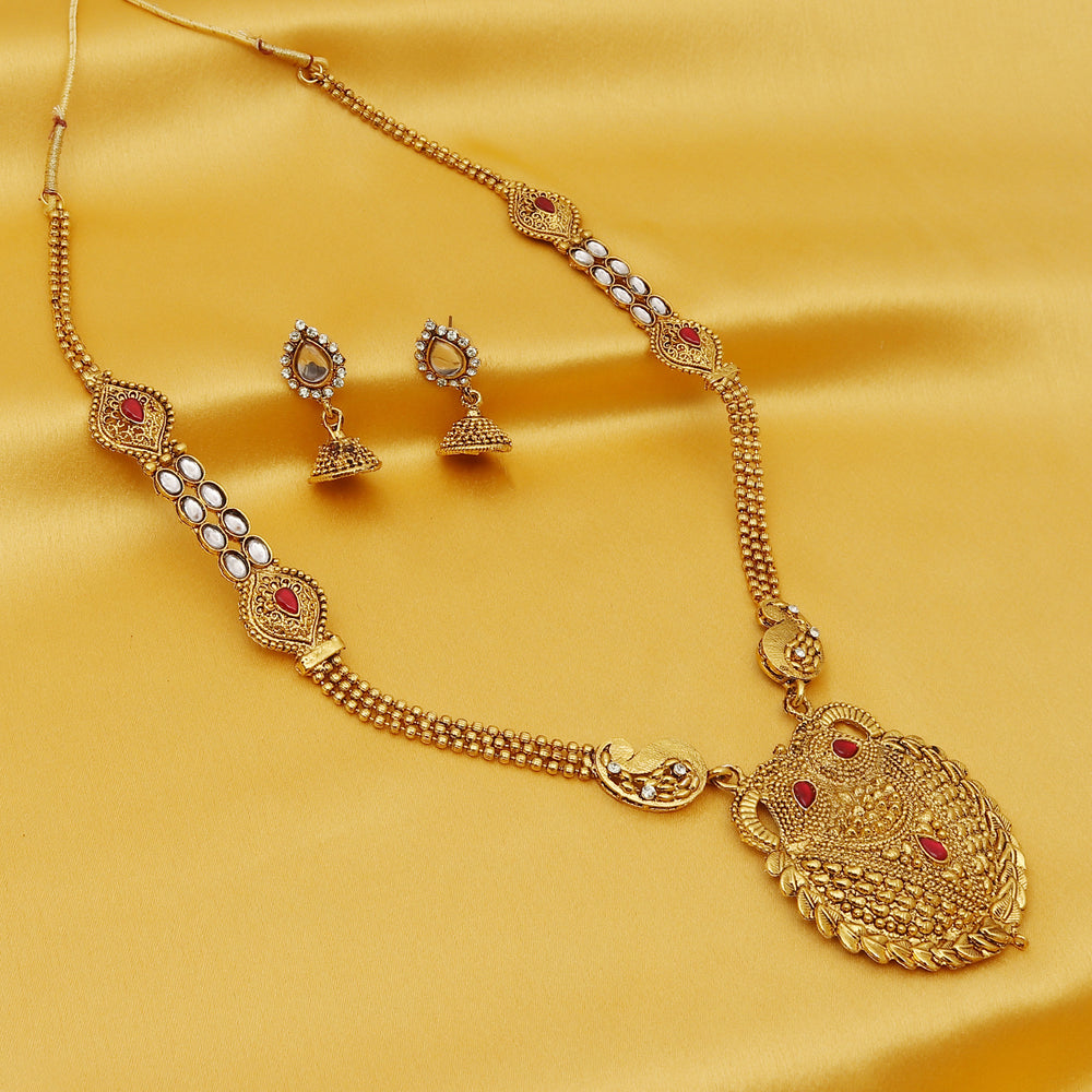 Sukkhi Classic Gold Plated Kundan Long Haram Necklace Set For Women