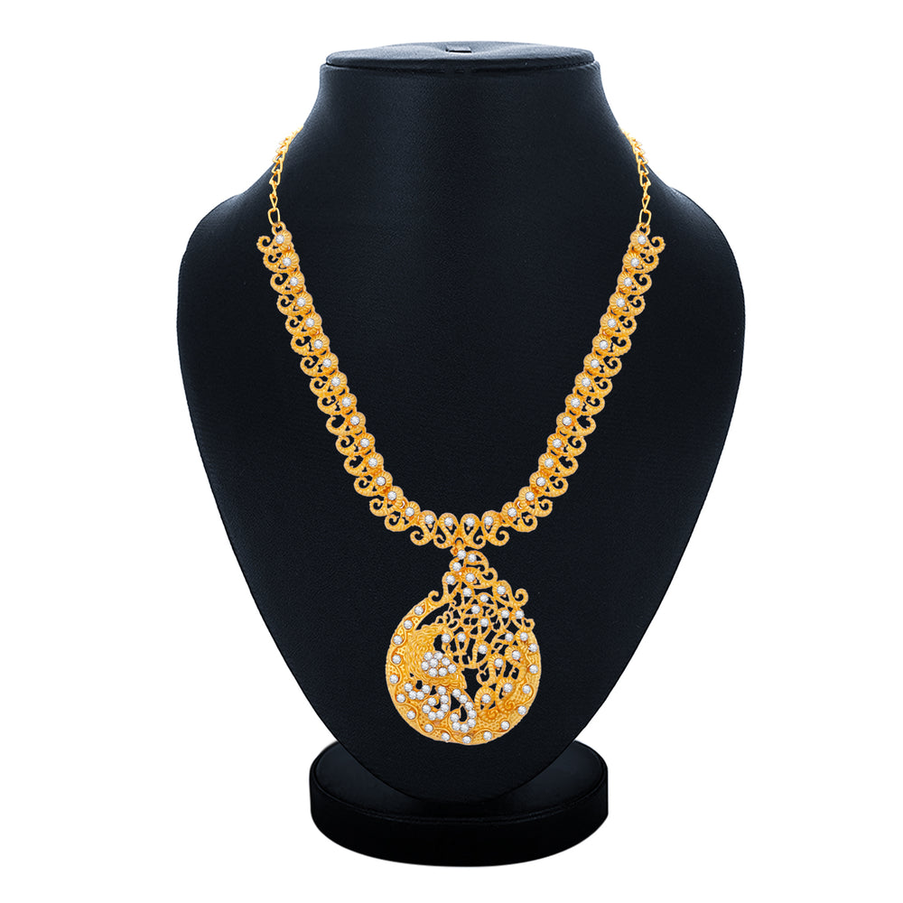 Sukkhi Glossy Gold Plated Necklace Set For Women