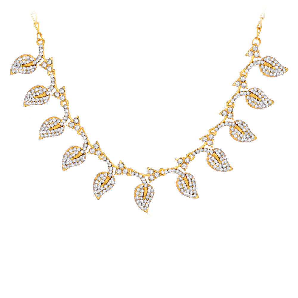 Sukkhi Sparkly Gold Plated Leafy Necklace Set For Women