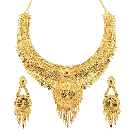 Sukkhi Splendid 24 Carat 1 Gram Gold Plated Floral Meenakari Choker Necklace Set For Women