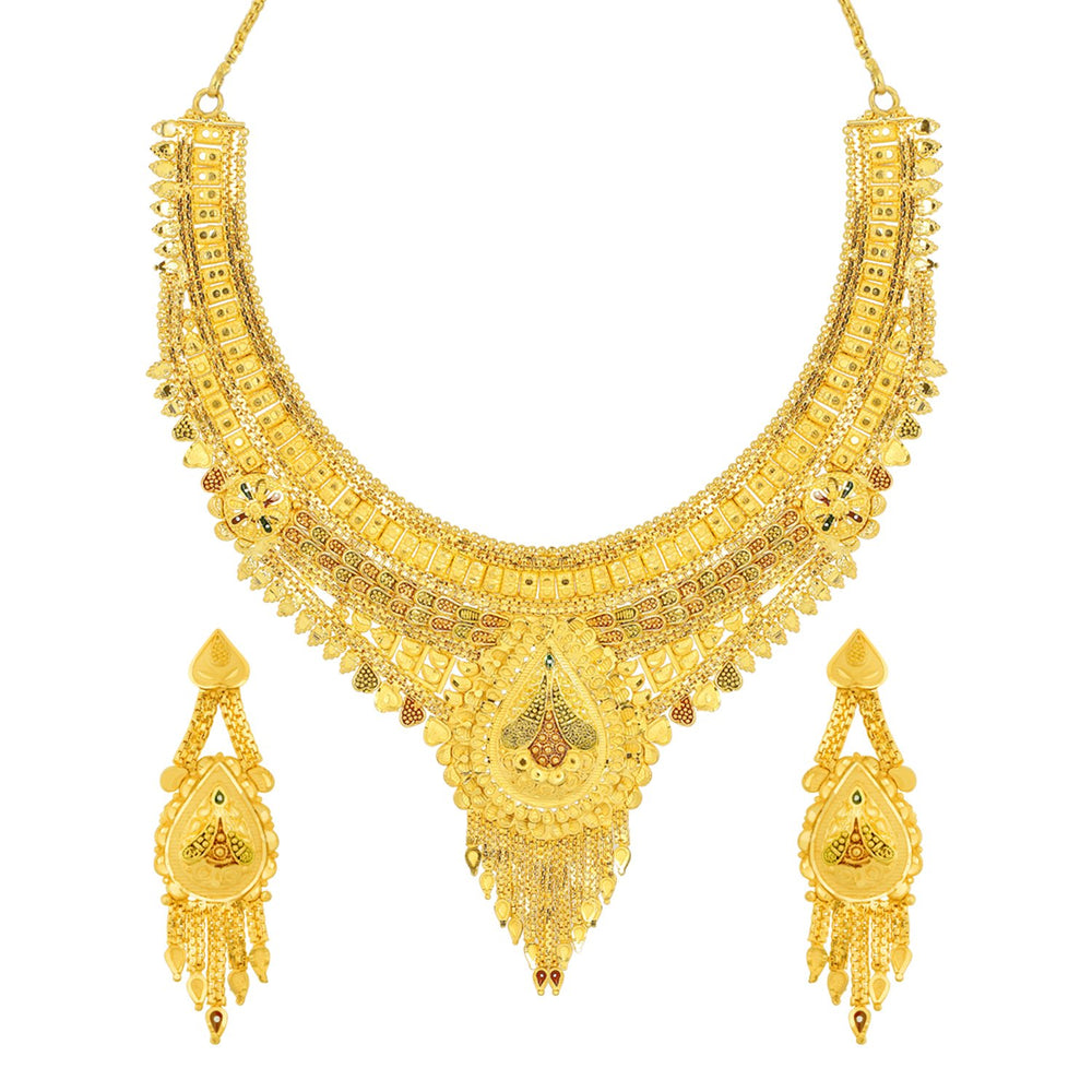 Sukkhi Attractive 24 Carat 1 Gram Gold Plated Meenakari Choker Necklace Set For Women