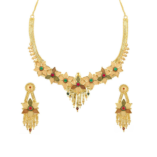 Sukkhi Glossy 24 Carat 1 Gram Gold Plated Floral Meenakari Choker Necklace Set For Women