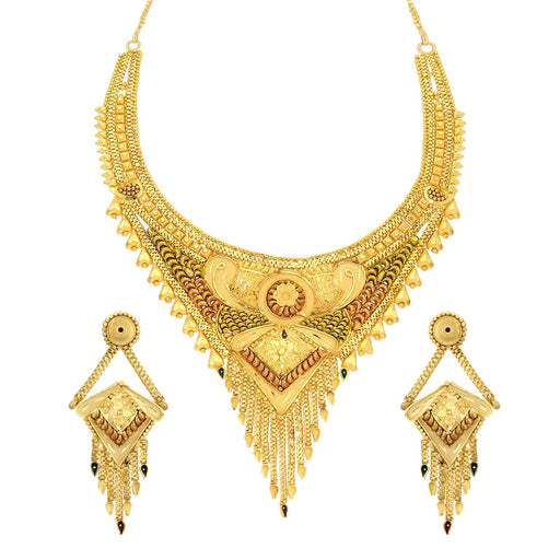 Sukkhi Fascinating 24 Carat 1 Gram Gold Plated Meenakari Choker Necklace Set For Women