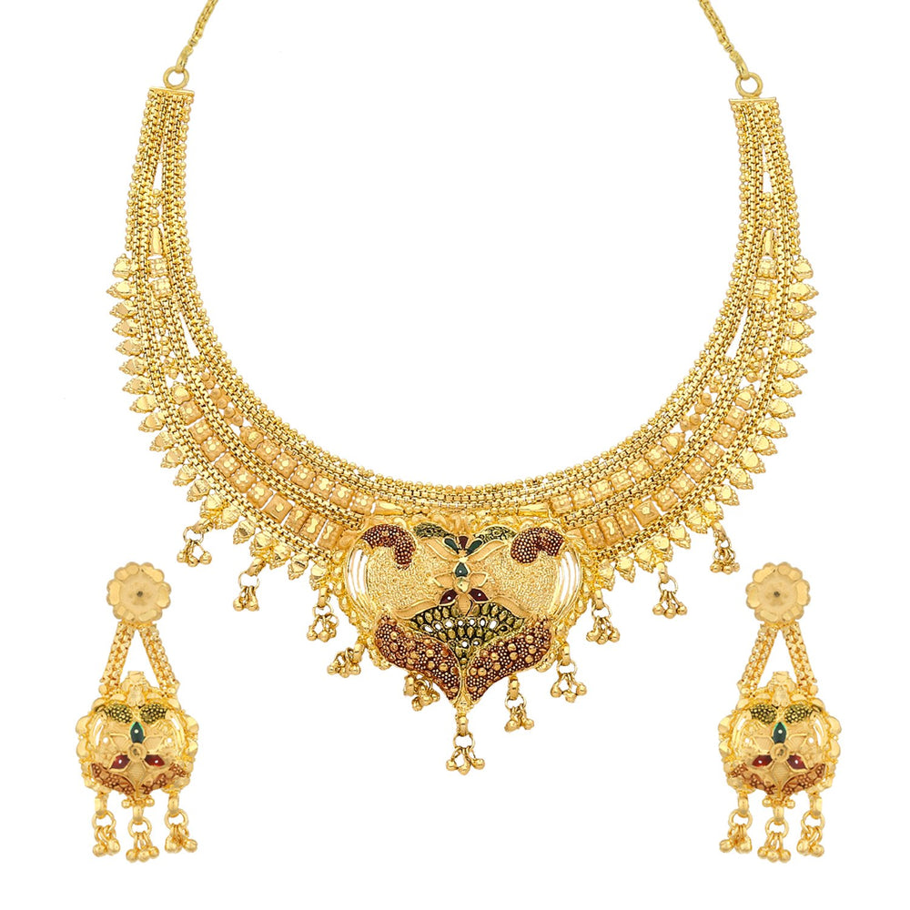 Sukkhi Glamorous 24 Carat 1 Gram Gold Plated Meenakari Choker Necklace Set For Women