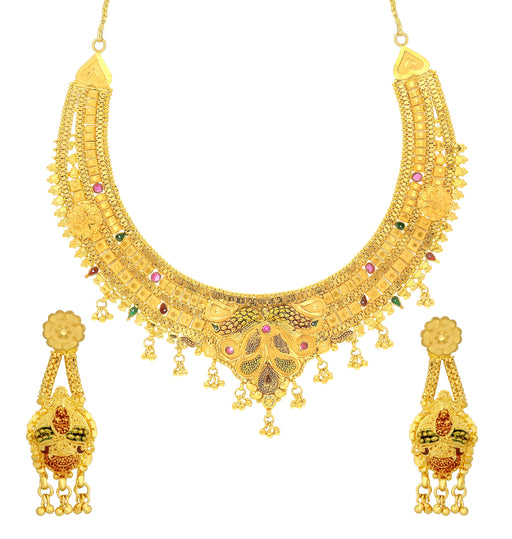 Sukkhi Luxurious 24 Carat 1 Gram Gold Plated Meenakari Choker Necklace Set For Women