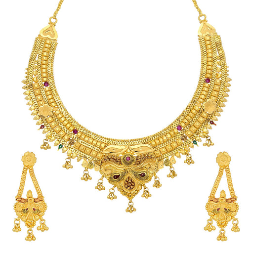 Sukkhi Glittery 24 Carat 1 Gram Gold Plated Meenakari Choker Necklace Set For Women