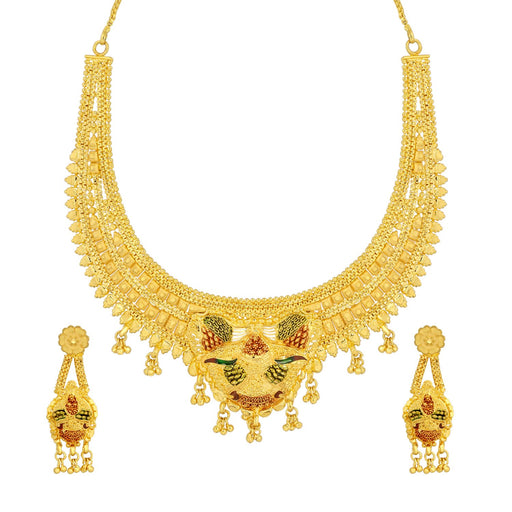 Sukkhi Adorable 24 Carat 1 Gram Gold Plated Meenakari Choker Necklace Set For Women