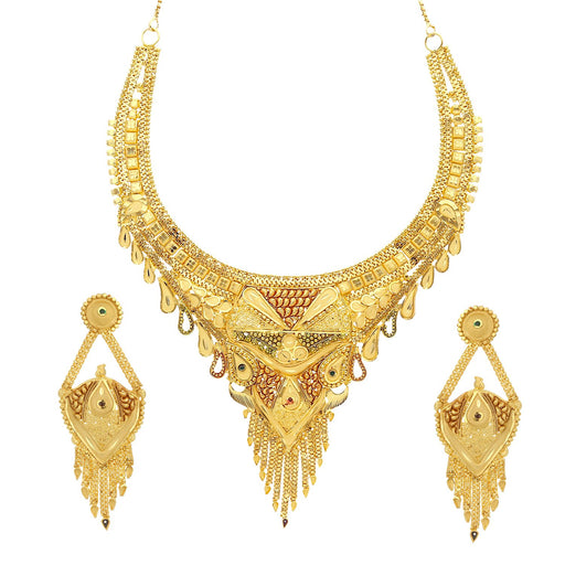 Sukkhi Fashionable 24 Carat 1 Gram Gold Plated Meenakari Choker Necklace Set For Women