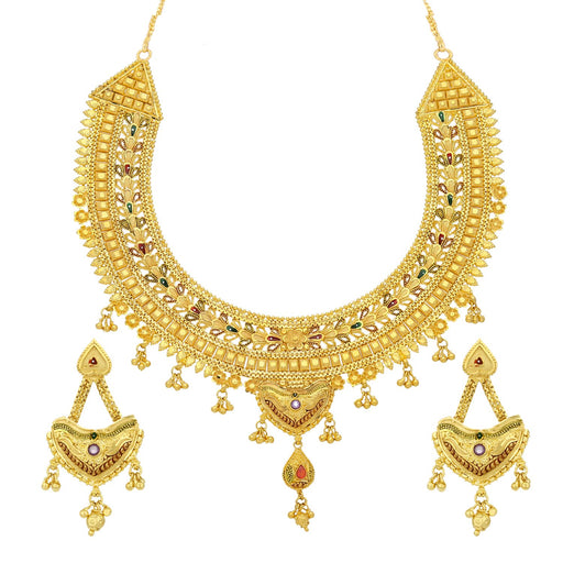 Sukkhi Classy 24 Carat 1 Gram Gold Plated Meenakari Choker Necklace Set For Women